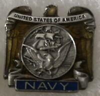 Vintage Pewter Enamel United States Navy Lapel Pin USN US Naval Service Badge