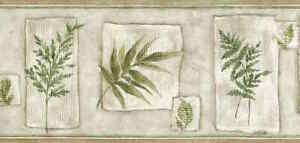 Leaf Vintage Wallpaper Border Green Beige Cream UK B.0632 FREE Ship