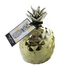 SET OF 2 GOLD PINEAPPLE CANDLE SAGE ROSEMARY CERAMIC HOME GIFT SET LUXURY LID