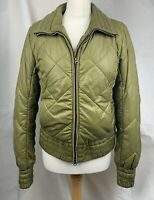 Tommy Hilfiger Size M Floral Inside Khaki Green Quilted Puffer Jacket Coat