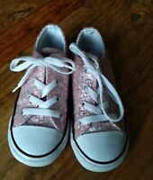 Girls Pink Glitter Converse Trainers Size 10