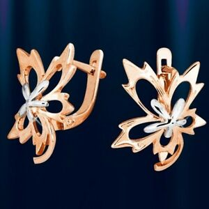 Russian solid rose gold 585 /14k maple leaf earrings NWT. 3,96g