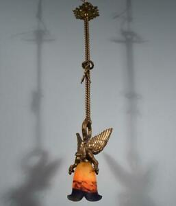 *Antique French Bronze Chandelier/Hanging Lamp with Griffin