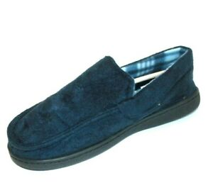 Unisex Winter Warm Lined Hard Sole Blue Slip On Slippers Shoe Mens Ladies Size