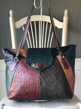 SHARIF Patchwork Leather Extra Large Multi-color Shoulder Hobo Satchel Bag Tote