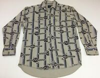 Vtg Men's Wrangler Western Shirt Cowboy Cut Tomahawk Aztec Print Sz L 16-33