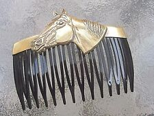 Vintage Hair Comb Horse's Head Anitqued Brass Black Side Comb  Made in USA