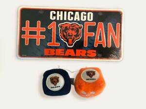 """NFL Chicago Bears Plush 3"""" Fuzzy  & #1 Fan License Plate NEW NFL Tag Package"""