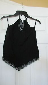 Girls Black Old Navy tie neck handkerchief style L w/embroidery