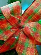 """Pumpkin Tartan Wire Edged Wired Burlap Ribbon  2.5"""" Autumn Halloween Harvest"""