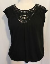 COUNTRY ROAD ~ Black Cotton Blend Sleeveless Top w Crocheted Neckline XL