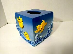 Baby Ducks Child Tissue Box Cover Swimming Wave Blue Yellow