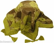 LUXURIOUS TASSELED CHENILLE FLORAL SOFA BED THROW SPARKLY GREEN SILVER 145X180