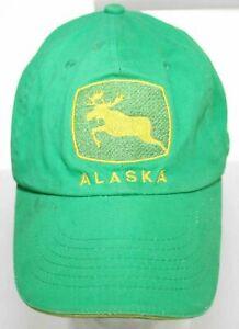 Vintage Alaska Green & Yellow Moose Baseball Hat Triangle Sport Headwear Elk Cap