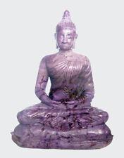 """Rare! NATURAL TURKEY  PURPLE / PLUM  """"A"""" JADE Thai Buddha Carving Statue 7"""" Tall"""