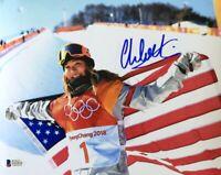 Chloe Kim Signed 8x10 Flag Photo Olympic Gold Medalist BAS