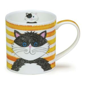 Dunoon Mug Orkney Shape - Stripy Cats - Yellow