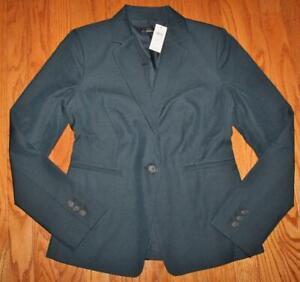 NWT Womens Ann Taylor Machine Washable 1-Button Blue Blazer Dark Navy Rinse *E1