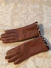 Charter Club Women's Brown Leather Gloves Leopard Faux Fur Lining Sz  M $78 NWOT