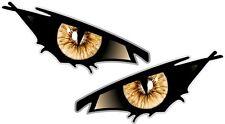 Pair Of EVIL Eyes Eye BLACK IRIS car Motorbike Helmet Drone Quad Sticker 50x25mm