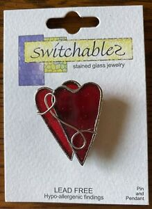 Red Double Heart Brooch/Pin or Pendant Switchables Stained Glass JE233