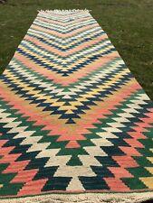 2x10 ft Colorful Handknotted Oushak Long Rug Boho Tribal Turkish Kilim Runner
