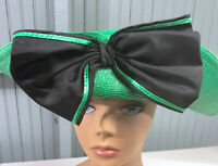 VTG Barbara Mason Heavy Straw Church Dress Green Big Bow Floral Glamour Hat