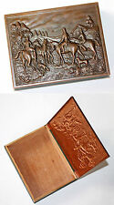 Vintage English Art Deco Wood & Copper Lid Hunting Scene Treasure Box