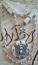 Lovely, large round Fairy locket, thick chain necklace  holds 2 pics