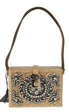 NEW  12600 DOLCE   GABBANA Bag Purse Metal Box Gold Fairy Tale Crystal  Leather 08109d030db5b
