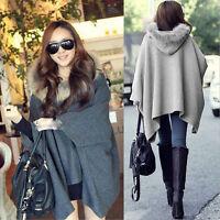 Casual Womens Cape Black Batwing Wool Poncho Jacket Lady Winter Warm Cloak Coat