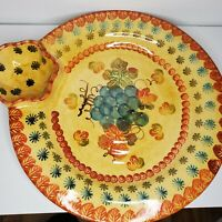 Italica Ars Italy Hand Painted Compartment Sectioned Tray Platter Serving Dish
