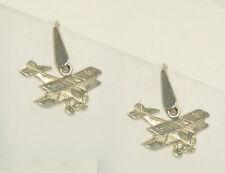 Orecchini pendenti con BIPLANO in Argento 925 - pendente con amo - aeronautica -