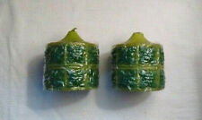 Pair of Vintage Moss / Avocado Candles with Geometric Flower Design