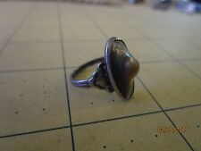 ANTIQUE STERLING, ABALONE BLISTER PEARL SHELL RING  sz 6.5