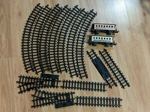 Vintage 1989 New Bright 1 Inch Gauge Train Track, Switch, and Cars Expansion Lot