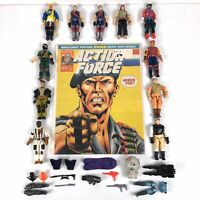 Lot of Assorted Vintage GI Joe Figures, Action Force Comic, Weapons, Sea Mine...