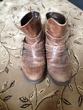 Carvela Brown Distressed Leather Buckle Ankle Boots Size 5