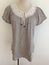 Lucky Brand Key-Hole Cotton Top Ivory & Tan/Taupe Stripes w/Crochet Collar Sz L