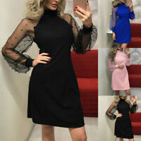 Sexy Women Pearl Beading Mesh Sleeve Dress Long Sleeve Cocktail Mini Party Dress