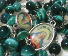 RARE Peacock Blue Tiger Eye Jade Beads SEVEN 7 SORROWS Rosary Necklace Catholic