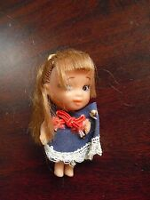"""Small Vintage 1960s Vinyl Rubber Girl Character Doll 2 1/2"""" Tall"""