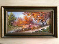 "JOHN BAKER SMITH Original Artwork 'Fall Brook' Oil on Canvas ~ Frame 19"" x 11"""