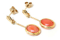 9ct Gold Oval Coral drop dangly Earrings Gift Boxed Made in UK Christmas Gift