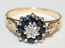 Bargain 9ct Gold Sapphire & Diamond Cluster Ring Size L 1/2