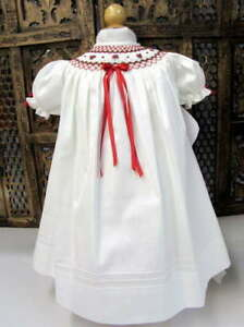 Will'beth Infant Baby Girl Smocked Ivory/Red Bishop Dress Christmas Sz 3m NWT