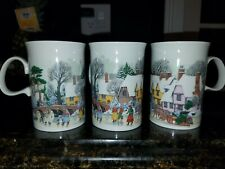 Dunoon Village Snow Scene Coffee Tea Mugs Made In Scotland Set Of 3