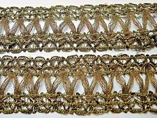 Antique French Heavy Gold Matalic Trim 42'' X 1 1/2'' For Sewing-Crafts-Arts