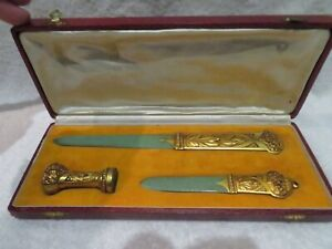 Magnificent 1900 French bronze wax seal page turner, opener paper knife Gadoux