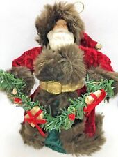 """Santa Clause Father Christmas Vintage 9"""" Tree Topper Red with Brown Fur Trim"""